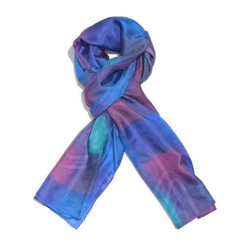 100% Mulberry Silk Blue, Pink and Multi Colour Handscreen Printed Scarf (Size 180x100 Cm)
