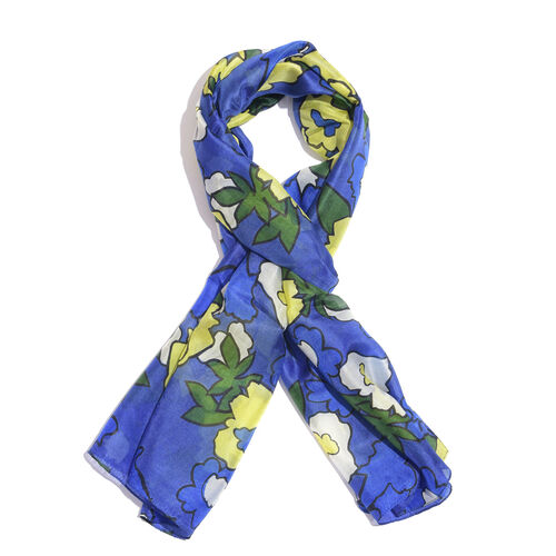 100% Mulberry Silk Blue, Yellow and Multi Colour Handscreen Floral Printed Scarf (Size 170X50 Cm)