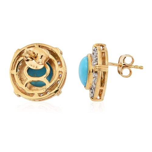 Arizona Sleeping Beauty Turquoise (Rnd), Natural Cambodian Zircon Stud Earrings (with Push Back) in 14K Gold Overlay Sterling Silver 3.750 Ct.