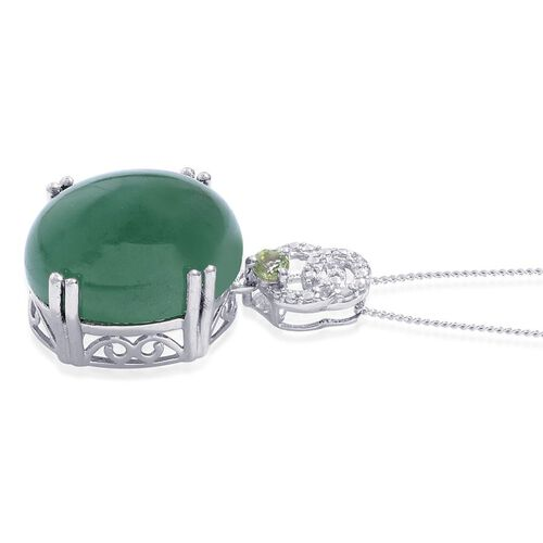 Emerald Quartz (Ovl 12.00 Ct), Hebei Peridot and Diamond Pendant With Chain in Platinum Overlay Sterling Silver 12.100 Ct.