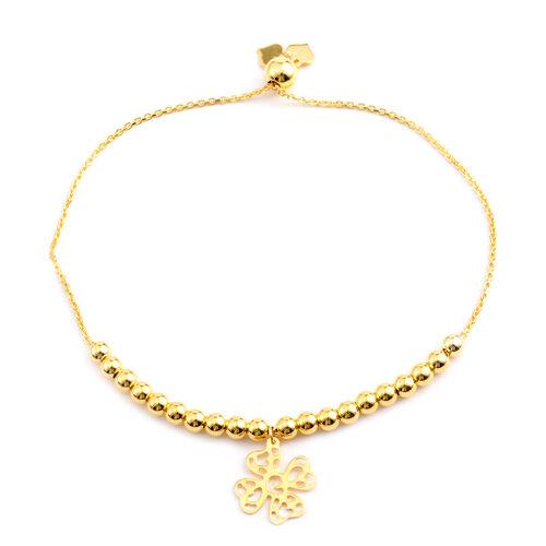 14K Gold Overlay Sterling Silver Adjustable Four Leaf Clover Charm Bracelet (Size 6 to 7.5), Silver wt 5.90 Gms.