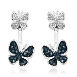Blue and White Diamond (Rnd) Butterfly Earrings (with Push Back) in Platinum Overlay Sterling Silver 0.330 Ct.