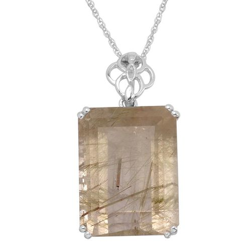 Collection Rutile Quartz Pendant With Chain in Platinum Bond