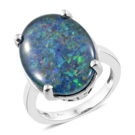 Exclusive Edition- Very Rare AAA Australian Boulder Opal (Ovl 20X15 mm) Solitaire Ring in Platinum Overlay Sterling Silver 9.000 Ct.
