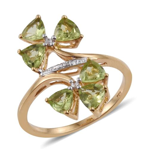 AA Hebei Peridot (Trl), Natural Cambodian Zircon Ring in 14K Gold Overlay Sterling Silver 3.000 Ct.