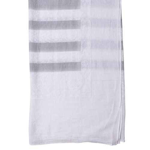 Close Out Deal White and Grey Colour Stripes Pattern Pareo (Size 200X140 Cm)