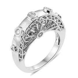 J Francis - ION Plated Platinum Bond (Rnd) Ring Made with SWAROVSKI ZIRCONIA