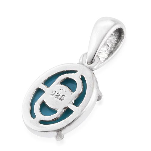 Arizona Sleeping Beauty Turquoise (Ovl) Solitaire Pendant in Platinum Overlay Sterling Silver 2.000 Ct.