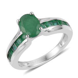 Brazilian Emerald (Ovl 1.15 Ct) Ring in Platinum Overlay Sterling Silver 2.050 Ct.