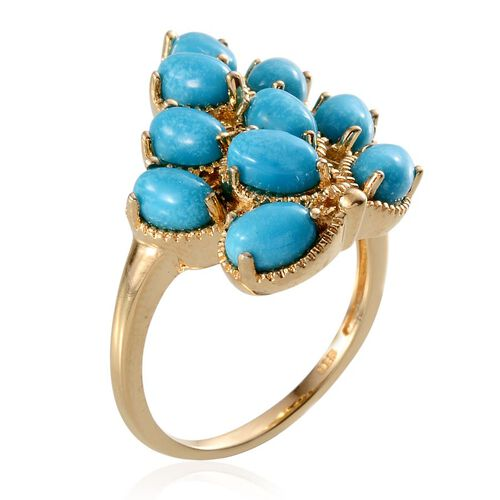 Arizona Sleeping Beauty Turquoise (Ovl) Ring in 14K Gold Overlay Sterling Silver 5.000 Ct.
