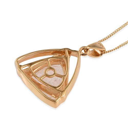 Diamond Crackled Quartz (Trl) Solitaire Pendant With Chain in 14K Gold Overlay Sterling Silver 5.500 Ct.