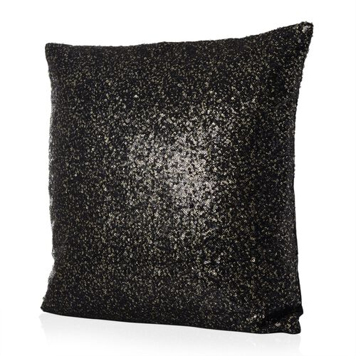 Black Colour Cushion with Golden Sequins (Size 42x42 Cm)