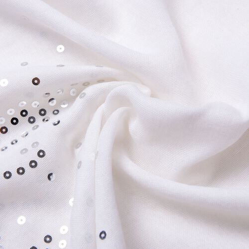 Silver Sequins Embellished White Colour Butterfly Pattern Scarf with Fringes (Size 180X70 Cm)