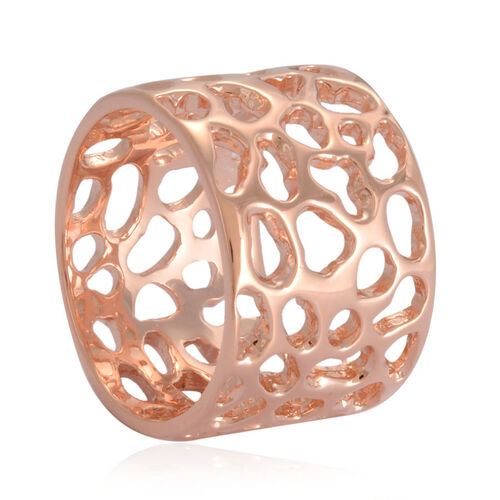 RACHEL GALLEY Rose Gold Overlay Sterling Silver Enkai Sun Band Ring, Silver wt 7.59 Gms.