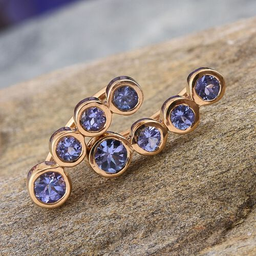 Tanzanite (Rnd) Climber Earrings in 14K Gold Overlay Sterling Silver 1.250 Ct.