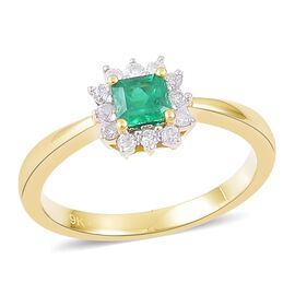 9K Yellow Gold 0.45 Ct Boyaca Colombian Emerald Halo Ring with Diamond