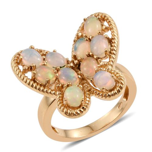 Ethiopian Welo Opal (Ovl) Butterfly Ring in 14K Gold Overlay Sterling Silver 1.500 Ct.