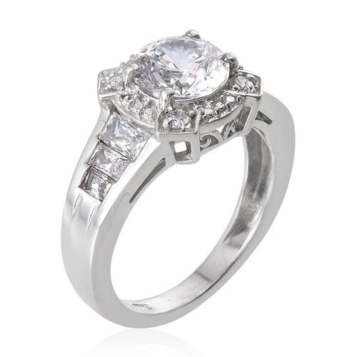 J Francis - Platinum Overlay Sterling Silver Ring (Rnd) Ring Made with SWAROVSKI ZIRCONIA