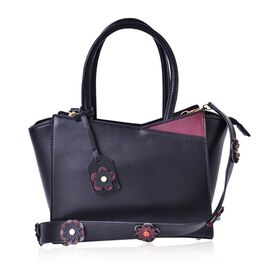 Black and Burgundy Colour Tote Bag with Multi Colour Floral Charm and Removable Floral Strap (Size 35x27.5x20x11 Cm)