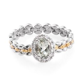 Green Amethyst (Ovl), Natural Cambodian Zircon Ring in Platinum Overlay Sterling Silver 1.000 Ct.