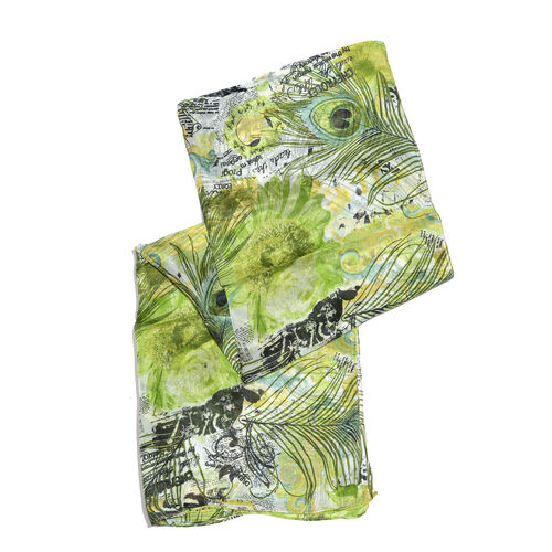 100% Mulberry Silk Green, Yellow and Multi Colour Handscreen Peacock Feather and Floral Printed Scarf (Size 170X50 Cm)