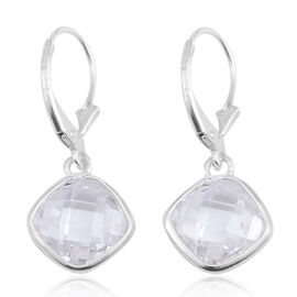 AAA White Austrian Crystal (Checker Board Cut) Lever Back Earrings in Sterling Silver