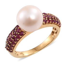 Fresh Water Pearl (Rnd 10mm), African Ruby Ring in 14K Gold Overlay Sterling Silver