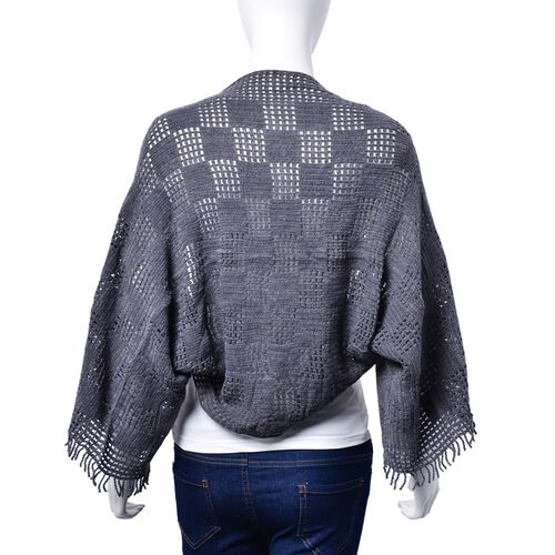 Designer Inspired Grey Colour Check Pattern Poncho (Size 130x25 Cm)