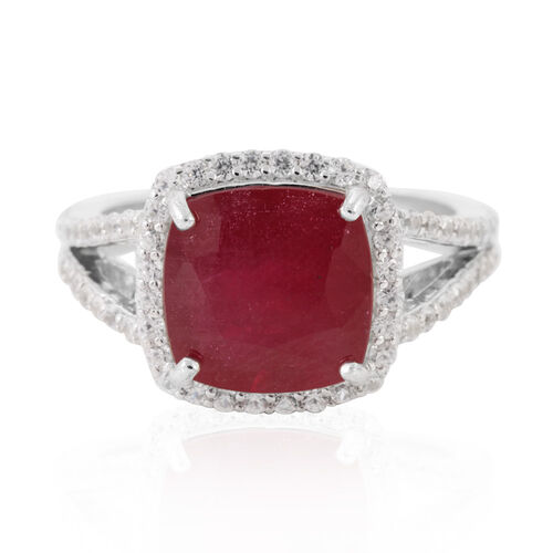 African Ruby (Cush 8.50 Ct), Natural Cambodian White Zircon Ring in Rhodium Plated Sterling Silver 10.250 Ct.