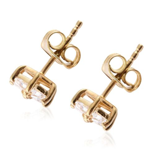 J Francis - 14K Gold Overlay Sterling Silver (Trl) Stud Earrings (with Push Back) Made with SWAROVSKI ZIRCONIA