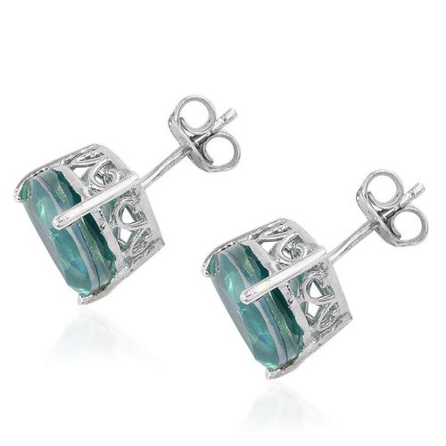 Peacock Quartz (Trl) Stud Earrings (with Push Back) in Platinum Overlay Sterling Silver 7.500 Ct.