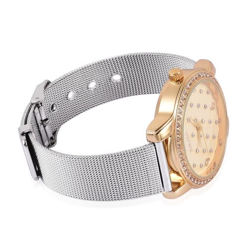 STRADA Japanese Movement White Austrian Crystal Studded Golden Dial Water Resistant Watch in Gold Tone with Stainless Steel Back and Chain Strap