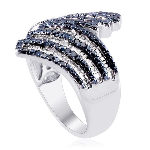 Blue Diamond (Rnd), White Diamond Crossover Ring in Platinum Overlay Sterling Silver 1.000 Ct.