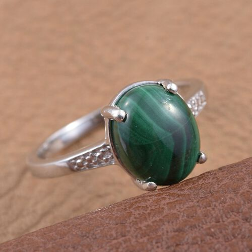 Malachite (Ovl) Solitaire Ring in Platinum Overlay Sterling Silver 4.750 Ct.