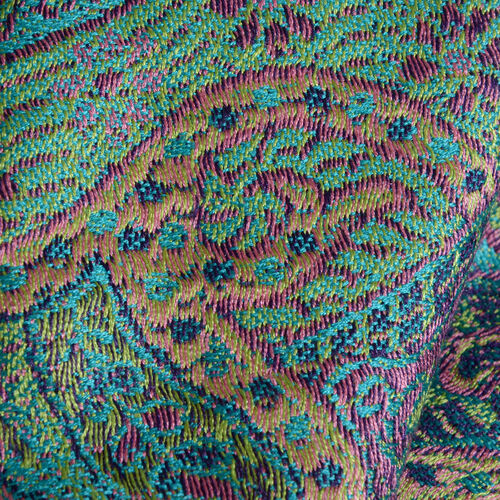 SILK MARK- 100% Superfine Silk Green and Multi Colour Jacquard Jamawar Scarf with Tassels (Size 180x70 Cm) (Weight 125 - 140 Gms)