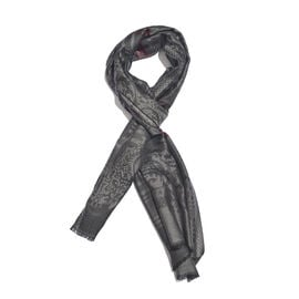 Dark Grey, Light Grey and Red Colour Checks Pattern Reversible Jacquard Scarf with Fringes (Size 190X70 Cm)