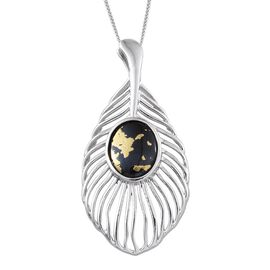 Goldenite (Ovl) Peacock Feather Pendant With Chain in Platinum Overlay Sterling Silver 2.750 Ct.