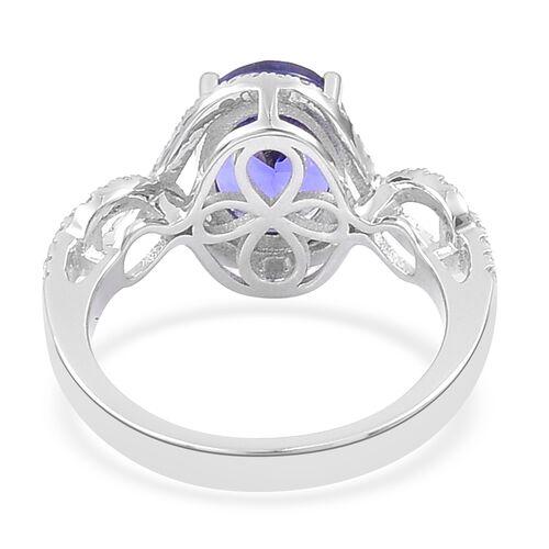 ILIANA 18K White Gold 3.75 Ct AAAA Tanzanite Ring with Diamond (SI/G-H)