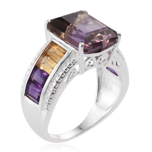 Anahi Ametrine (Oct 5.50 Ct), Citrine and Amethyst Ring in Sterling Silver 7.500 Ct.