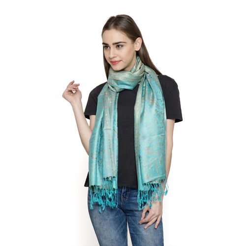 SILK MARK - 100% Superfine Silk Green and Multi Colour Jacquard Jamawar Scarf with Fringes at the Bottom (Size 180x70 Cm) (Weight 125- 140 Gms)
