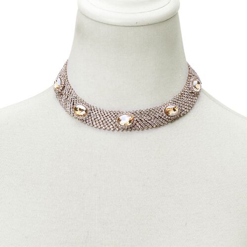 AAA White Austrian Crystal and Simulated Champagne Diamond Choker Necklace (Size 20 with 2 inch Extender) in Rose Gold Tone