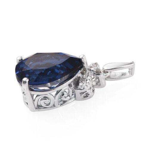 Ceylon Colour Quartz (Pear 5.75 Ct), Diamond Pendant in Platinum Overlay Sterling Silver 5.760 Ct.