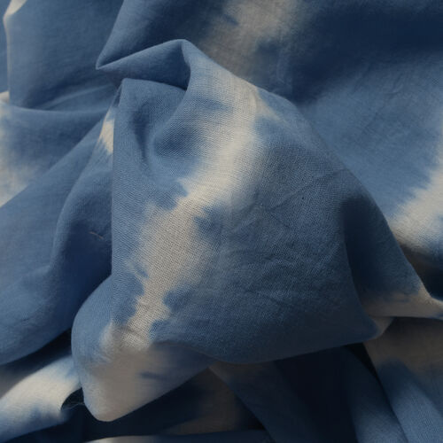 Hand Dyed 100% Cotton Tye and Dye Pattern Blue Colour Poncho (Free Size)