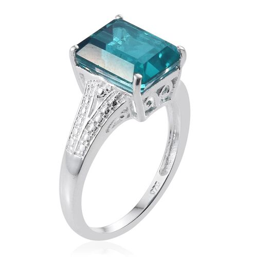 Capri Blue Quartz (Oct) Solitaire Ring in Sterling Silver 5.250 Ct.
