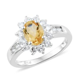 Designer Inspired - Citrine (Ovl 8x6mm, 1.05 Ct), Natural Cambodian Zircon Ring in Sterling Silver 2.250 Ct.