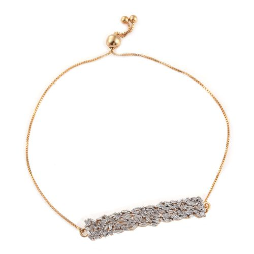 Designer Inspired - Firework Diamond (Bgt) Adjustable Bracelet (Size 6.5 to 7.5) in 14K Gold Overlay Sterling Silver 0.750 Ct.
