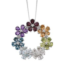 Amethyst (Pear), London Blue Topaz, Rhodolite Garnet, Citrine, Sky Blue Topaz and Multi Gem Stone Floral Pendant with Chain in Platinum Overlay Sterling Silver 5.485 Ct.