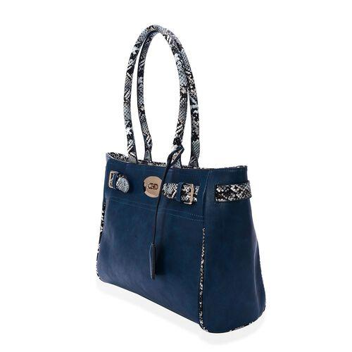 Snake Skin Pattern Blue Colour Tote Bag (Size 42x26x9 Cm)