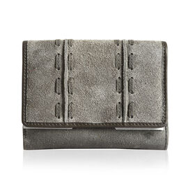 Genuine Leather RFID Blocker Grey and Taupe Colour Wallet with Multiple Card Slots (Size 13.3X10.7X3.15 Cm)