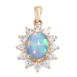 One Time Deal-9K Yellow Gold AAA Ethiopian Welo Opal (Ovl 9x7mm), Natural Cambodian Zircon Pendant 2.250 Ct.